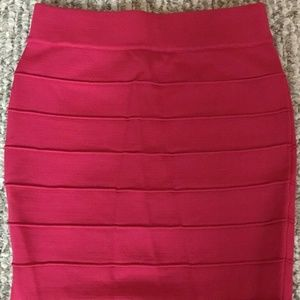 NEW Wet Seal Ribbed Bodycon Mini Skirt Pink XS